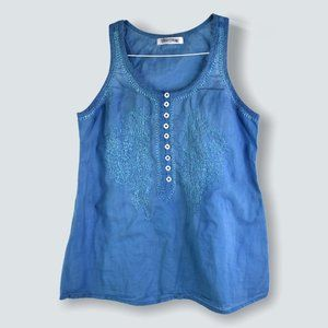 Patrons of Peace Blue Sleeveless Button Tank S